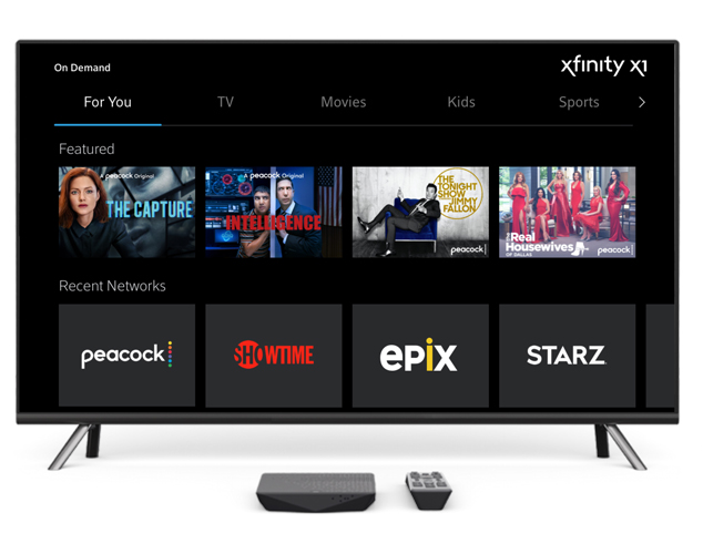 Xfinity X1 on TV showing The Capture, Intelligence, The Tonight Show, and The Real Housewives of Dallas with remote